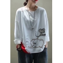 Vintage Unique Girls Long Sleeve Round Neck Elephant Mouse Embroidery Ripped Roll Edge Panel Loose Fit T Shirt