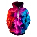 Fashionable Boys Long Sleeve Drawstring Colorful Smoke 3D Patterned Pouch Pocket Loose Hoodie in Red