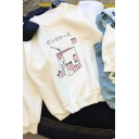 Trendy Long Sleeve Round Neck Peach Juice Japanese Letter Graphic Loose Fit White Sweatshirt for Girls