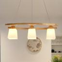 Trapezoid White Glass Multi Light Pendant Modernist 3-Head Wood Ceiling Suspension Lamp