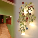 Bowl White Glass Wall Sconce Lamp Countryside 5 Heads Stair Wall Mounted Light with Flower and Leaf Decor