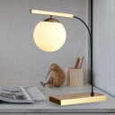 1 Bulb Bedroom Nightstand Light Postmodern Gold Metal Table Lamp with Globe White Glass Shade
