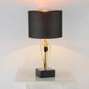 Drum Fabric Night Table Light Nordic 1-Head Black Nightstand Lamp with Geometric Metal Base