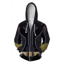 Popular Mens Long Sleeve Zip Up Drawstring Geometric 3D Anime Cosplay Print Relaxed Fit Costume Hoodie