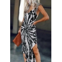 Chic Womens Sleeveless Cowl Neck Stripe Print Asymmetric Hem Long Fitted Cami Dress in Black