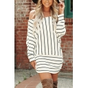 Leisure Fashion Womens Long Sleeve Off the Shoulder Stripe Printed Ruched Knitted Mini Shift Sweater Dress