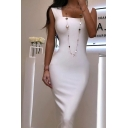 Elegant Fashion Womens Sleeveless Square Neck Solid Color Midi Bodycon Special Occation Dress in White