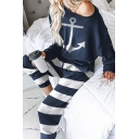 Casual Popular Girls Long Sleeve Drop Shoulder Anchor Print Loose Tee & Striped Cuffed Relaxed Trousers