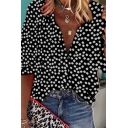 Popular Womens Three-Quarter Sleeve Lapel Neck Ditsy Flower Pattern Button Front Loose Shirt