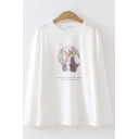 Chic Womens Long Sleeve Round Neck Cartoon Deer Printed Letter Graphic Loose Fit T-Shirt