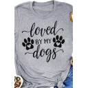 Womens Leisure Roll Up Sleeve Crew Neck Letter LOVED BY MY DOGS Paw Slim Fitted T-Shirt