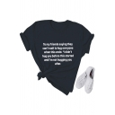 Girls Basic Roll Up Sleeve Crew Neck Letter TO MY FRIENDS SAYING THEY CAN'T WAIT TO HUG EVERYONE Print Fit T-Shirt