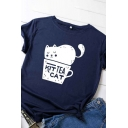 Lovely Girls Rolled Short Sleeve Round Neck Letter Cat Cup Graphic Slim Fit T-Shirt