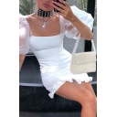 Stylish Hot Ladies Balloon Sleeve Square Neck Ruffle Trimmed Plain Sheath Dress for Party