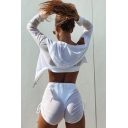 Summer Hot Girls Plain Long Sleeve Hooded Sheer Mesh Crop Tee & Drawstring Fitted Shorts Set