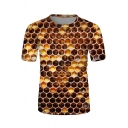 Guys Trendy Brown Short Sleeve Crew Neck Honeycomb 3D Patterned Relaxed Fit Tee Top