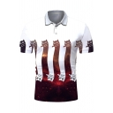 Simple Classic Short Sleeve Lapel Neck Button Up Funny Cat Pattern Fitted Polo Shirt
