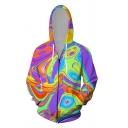 Boys Chic Street Long Sleeve Drawstring Zip Up 3D Abstract Geometric Pattern Loose Fit Hoodie in Purple