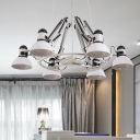 White 6 Lights Hanging Chandelier Antiqued Metal Dome Ceiling Pendant Lamp with Swing Arm