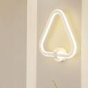 LED Corner Sconce Light Fixture Simple White Wall Mounted Lamp with Triangle Acrylic Shade