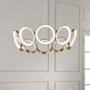 Modernism Multi-Ring Ceiling Chandelier Acrylic Living Room LED Pendant in Black/Gold, White/Warm Light