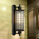 1 Bulb Clear Ribbed Glass Sconce Lighting Rustic Black Hexagon Outdoor Wall Mounted Lamp