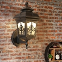 1 Head Textured Glass Wall Light Country Black/Brass Lantern Corner Up/Down Sconce Lamp Fixture