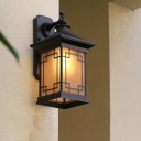 Metallic Squared Pavilion Sconce Country 1 Head Outdoor Wall Mounted Lamp in Black