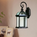 1-Light Sconce Light Fixture Country Outdoor Wall Mount with Birdcage Clear/Frosted Glass Shade in Black/Bronze