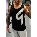 Cool Training Mens Sleeveless Round Neck Patterned Relaxed Fit Tank Top in Black