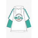 Anime Cosplay Costume Long Sleeve Drawstring Letter ONE FOR ALL Graphic Color Block Patchwork Slit Side Oversize Hoodie