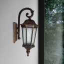 Country Star Anise Wall Light Fixture 1-Head Water Glass Wall Mount Lamp in Rust with Tiger Stripe Design