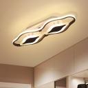 Living Room LED Ceiling Flush Mount Modernist Black Flush Light with Linear Acrylic Shade