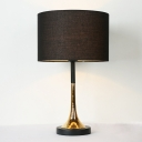 Black Finish Drum Table Lighting Contemporary 1 Head Fabric Nightstand Light with Base