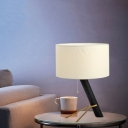 Modernist Cylinder Night Table Lighting Fabric 1-Head Bedside Nightstand Lighting in White with Pull Chain