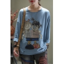 Cute Trendy Womens Long Sleeve Round Neck Ripped Cartoon Girls Patterned Panel Irregular Slit Sides Relaxed Graphic T-Shirt