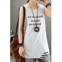 Chic Street Girls Sleeveless Round Neck Letter ADD SHE SSH ESSEB SO OO ODE SHE SSRENSSE Printed Roll Edge Distressed Tunic Loose Tank in White