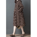Vintage Womens Casual Long Sleeve Lapel Collar Button Down Polka Dot Printed Ruched Long Swing Shirt Dress in Coffee
