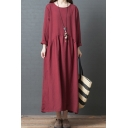 Leisure Girls Long Sleeve Round Neck Ruched Solid Color Maxi Oversize Dress
