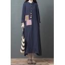 Leisure Womens Long Sleeve Lapel Collar Button Up Panel Color Block Linen Maxi Oversize Shirt Dress in Blue