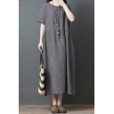 Simple Retro Style Ladies Short Sleeve Round Neck Button Up Linen and Cotton Ruched Plain Maxi Swing Dress