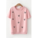 Fashionable Short Sleeve Round Neck Bear Patterned Relaxed Fit T-Shirt for Girls