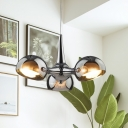 3/5 Heads Restaurant Pendant Chandelier Modernist Chrome Hanging Ceiling Light with Dome Mirror Glass Shade