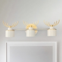 Metal Drum Wall Mounted Light Contemporary 3 Heads White Linear Sconce Lamp with Antler Deco