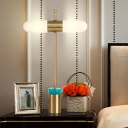 Capsule Night Table Light Luxury Frosted Glass 1 Light Gold Nightstand Lamp with Cylinder Metal Base