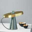 Gold Circular Table Lighting Contemporary 1-Light Metal Night Lamp with Conical Marble Base