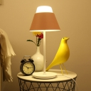 Blue/Pink Cone Nightstand Light Modern Style 1 Bulb Metal Night Table Lighting for Bedroom
