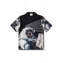Black Short Sleeve Lapel Neck Button Down Astronaut Patterned Loose Fit Shirt for Men