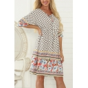 Ethnic Leisure Womens Three-Quarter Sleeve V-Neck Tied Front Floral Allover Print Patchwork Drawstring Waist Midi Swing Dress