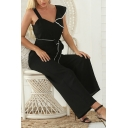 Chic Fashion Ladies Sleeveless V-Neck Ruffled Trim Bow Tie Waist Contrast Piped Long Wide Leg Jumpsuits in Black